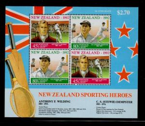 New Zealand Sc  B142a 1992 Sports Heroes stamp sheet mint NH