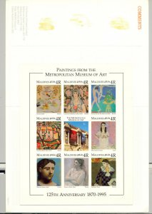 Maldives #2137 Art Fish Picasso 1v M/S of 8 Imperf Chromalin Proof in Folder