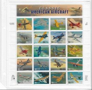 USA 1997 Sheet Aviation Classic America Aircraft ,Planes,Scott # 3142,VF MNH**