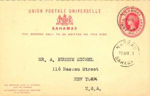 Bahamas 1d QV Attached Reply Postal Card 1901 Nassau, Bahamas to New York, N....