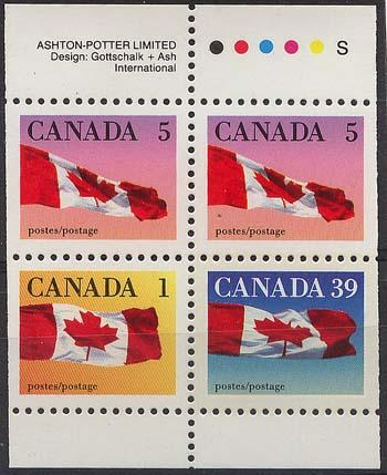 Canada - 1990 Flags Booklet Pane VF-NH #1189c