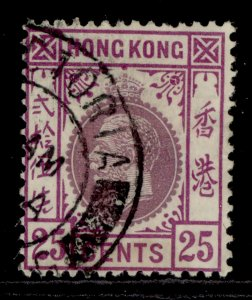 HONG KONG GV SG126, 25c purple and magenta, FINE USED.