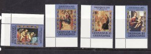 Grenada Grenadines-Sc#722-5-unused NH set-Christmas-Paintings-1985-