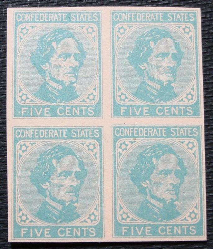 US CSA #6 MNH Block of 4, **Facsimile**, Jefferson Davis