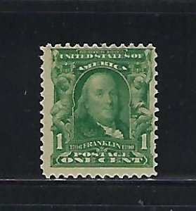 US #300 1902-03 FRANKLIN 1C (BLUE GREEN)  MINT NEVER HINGED