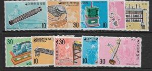 KOREA 883-892 MINT HINGED, REMNANTS MUSICAL INSTRUMENTS SET
