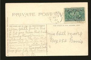Canada 97 on Postmarked 1908 Postcard Used