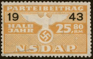 Germany NSDAP Party 1943 25.80RM Dues Revenue Membership Stamp 96222