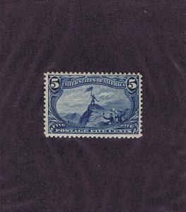 SC# 288 UNUSED ORIGINAL GUM MNH 5c FREMONT ON ROCKY MTNS, 1898, PF CERT COPY.