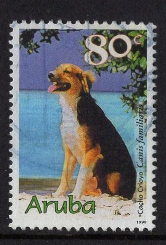 Aruba   #176  used  1999   dogs    80c