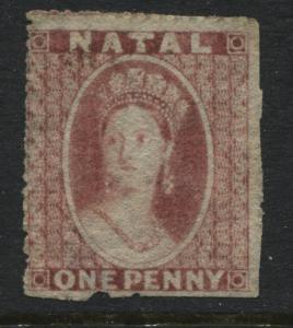 Natal QV 1862 1d rose used (JD)
