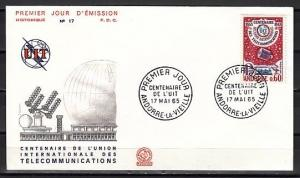 Andorra, French. Scott cat. 167. Syncom Satellite, I.T.U. issue. First day cover
