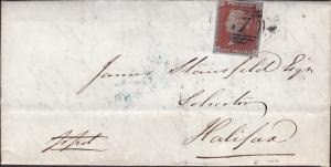 Great Britain 1846 Queen Victoria 1d Bluish Folded Letter  Beverley to Halifax.