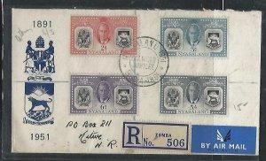 NYASALAND  COVER (P3009B) 1951  KGVI  STAMP REG FDC TO NORTHERN RHODESIA