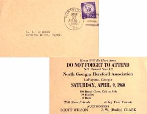 United States Georgia Flintstone 1960 non standard double ring 4-bar  Postcar...