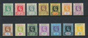 GAMBIA 1909 SET, VF MLH SG#72-85 CAT£160 (SEE BELOW)