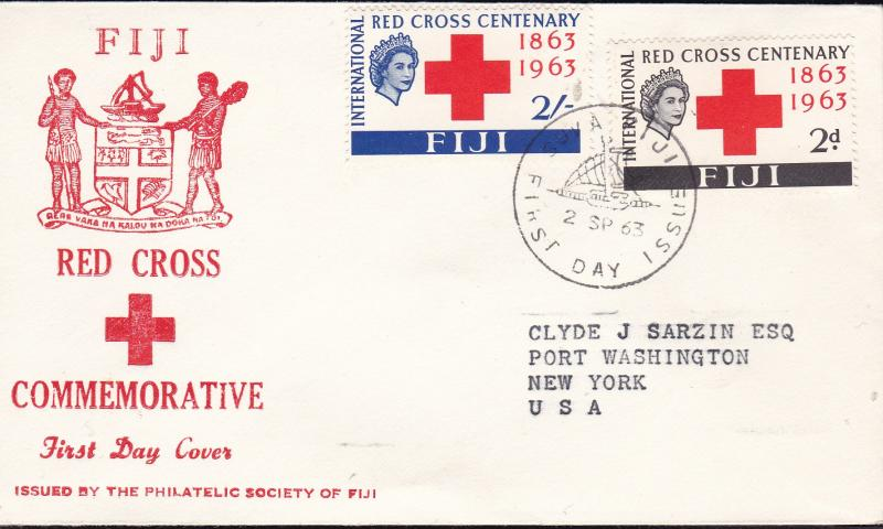 Fiji 1963 Red Cross Centenary First Day Cover Typed Address Cachet To U.S.A.  VF