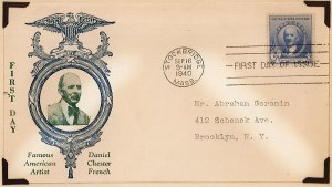 scott 887 1940 Daniel Chester French Famous American Artist First Day Cover
