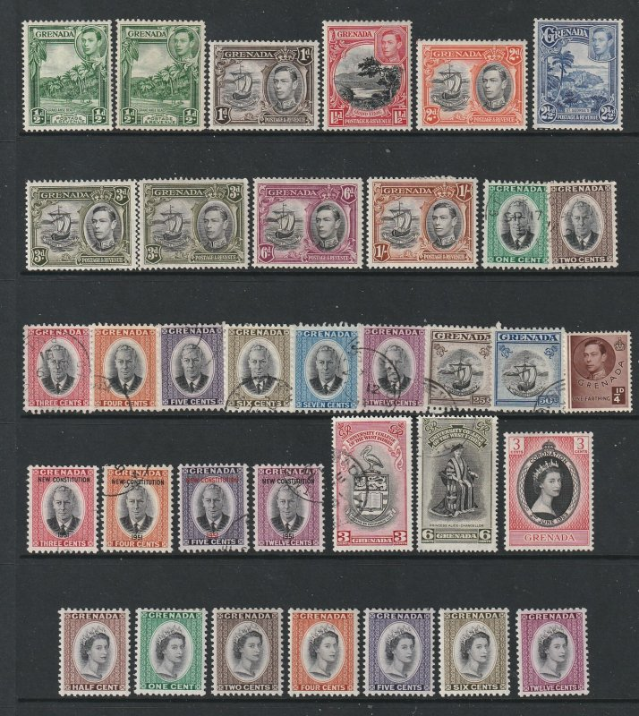 Grenada a small & mostly MH lot of KGVI & early QE2