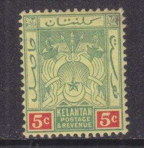 KELANTAN, 1911 Arms, Mult. CA. 5c. Green & Red on Yellow, lhm.