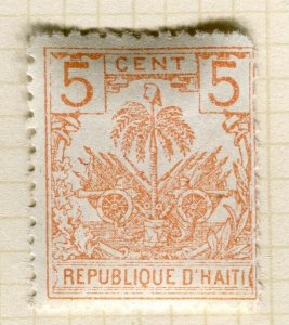 HAITI; Early 1890s Palm Tree issue Mint hinged 5c. Trial print on white paper ?