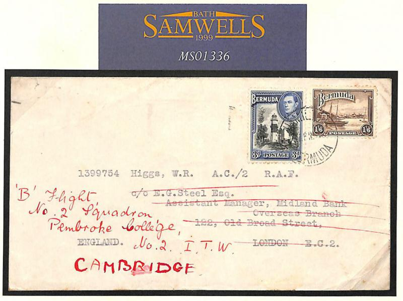 MS1336 1942 BERMUDA WW2 Pembroke College*Cambridge University*Squadron RAF Cover