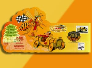 Indianapolis 500 Centennial -- Racer Chased By Giant Bug on Colorful Pop-Up  FDC
