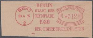 GERMANY 1935 Berlin Olympic Games red meter 0.12pf - superb on piece.......57693