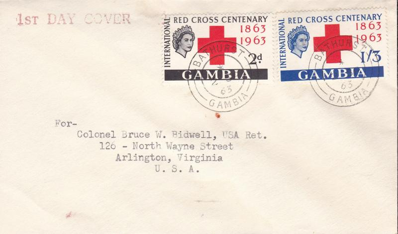 Gambia 1963 Red Cross Centenary First Day Cover Typed Address  VF
