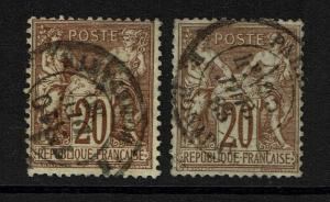 France SC# 70 - Used - x2 Town Cancels - Type I - Lot 081317