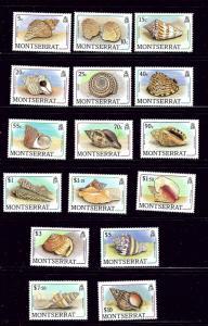 Montserrat 681-96 MNH 1988 Sea Shells Definitive Set
