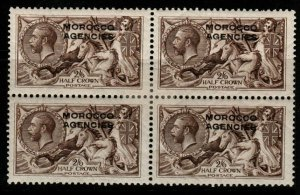 MOROCCO AGENCIES SG50 1914 2/6 SEPIA BROWN BLOCK OF 4 MTD MINT