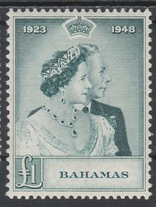 BAHAMAS 1948 KGVI SILVER WEDDING 1 POUND