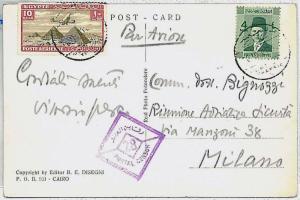 EGYPT -  POSTAL HISTORY: postcard to ITALY : CENSOR POSTMARK