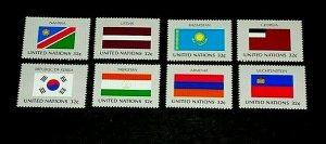 U.N. 1997, NEW YORK #690-697, FLAG SERIES, SINGLES, SET OF 8, MNH, NICE! LQQK!