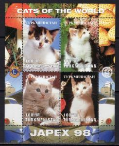 Turkmenistan 1998 YT#98/101 CATS/LIONS/ROTARY/JAPEX 98 Sheetlet Perforated MNH