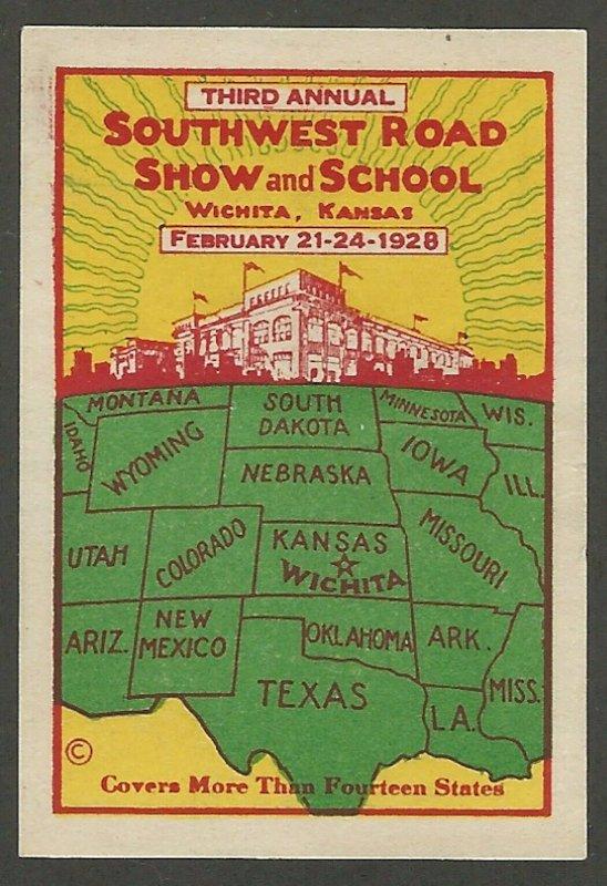 Southwest Road Show, Wichita, Kansas, 1928 Poster Stamp / Cinderella Label