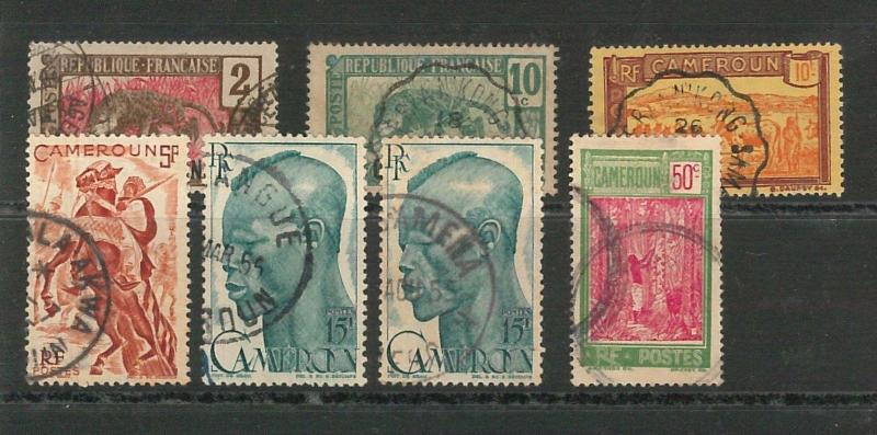 CAMEROON - POSTAL HISTORY: Small lot of used stamps with nice POSTMARKS #02