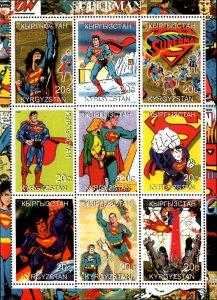 Kyrgyzstan 2000 Superman Comic Cartoon Characters 9v Mint Full Sheet. (L-136)