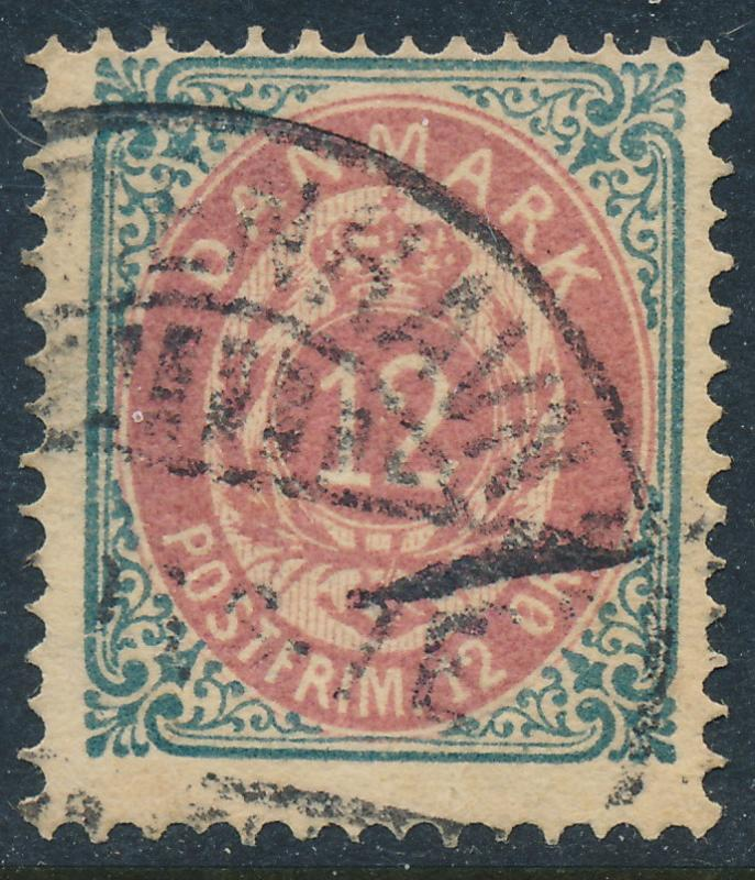 Denmark Scott 29c (AFA 26ay), 12ø grey/red Bicolour, Fine U
