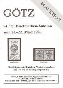 Gotz: Sale # 94  -  94./95. Briefmarken-Auktion, Jurgen G...