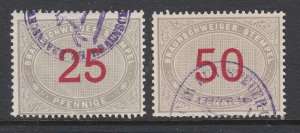 Germany, Brunswick, 1875 Fee Fiscals, 25pf and 50pf values, fresh, sound, F-VF