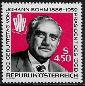 Austria #1334 MNH Stamp - Johann Bohm