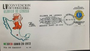 O) 1972 MEXICO, LIONS INTERNATIONAL, CONVENTION, FDC XF