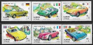 Ajman MNH Set Of 6 Sports Cars VROOOOOM!!!!!