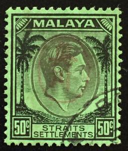Malaya Straits Settlements 1942 Japanese Occupation opt KGVI 50c Used SG#J65