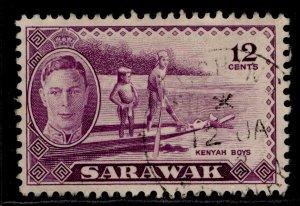 SARAWAK GVI SG178, 12c violet, VERY FINE USED. CDS