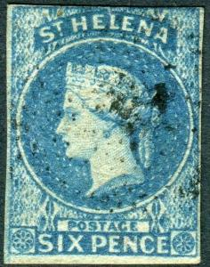 ST HELENA-1886 6d Blue  A fine used 3 margin example Sg 1