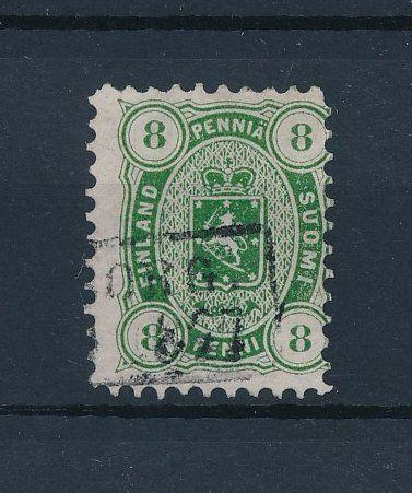 [34178] Finland 1875 8P Yellow Green L11 Michel # 14Ayb VF  Used