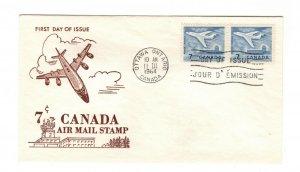 Canada 1964 7c Airmail  #414 pair FDC Ginn cachet unaddressed